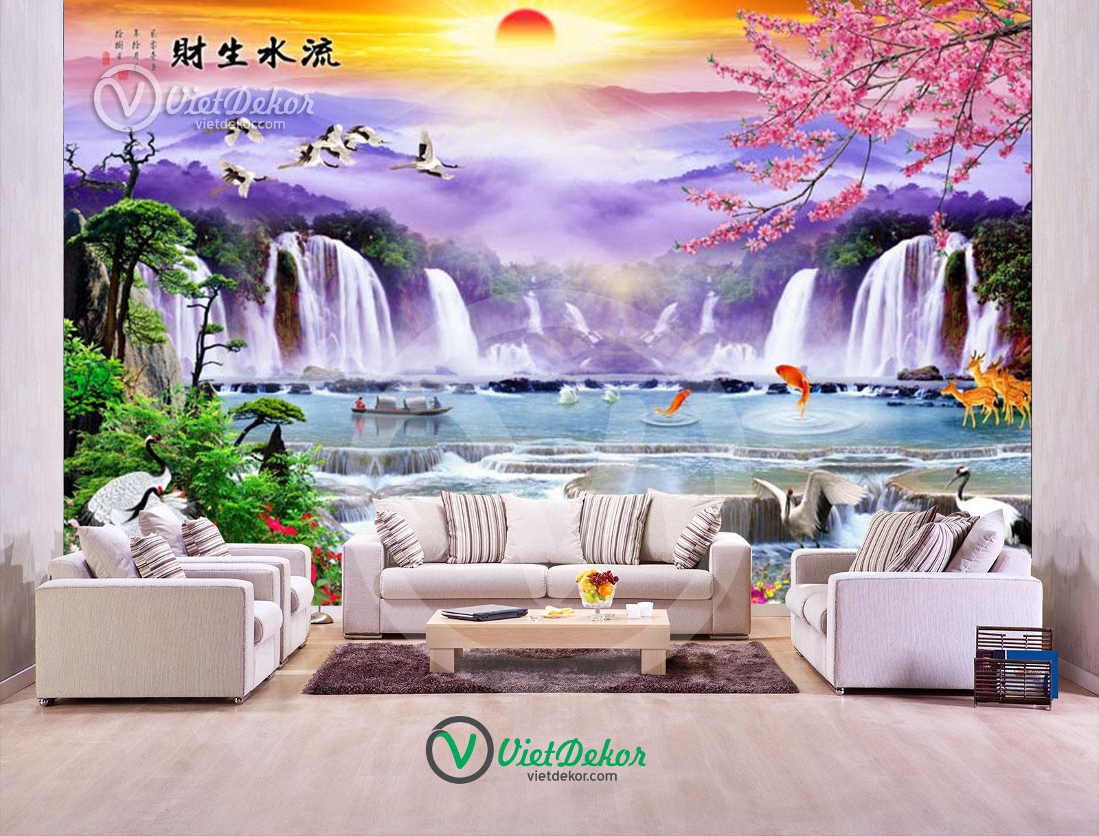 Tranh dán tường 3d thác nước chim hạc con thuyền