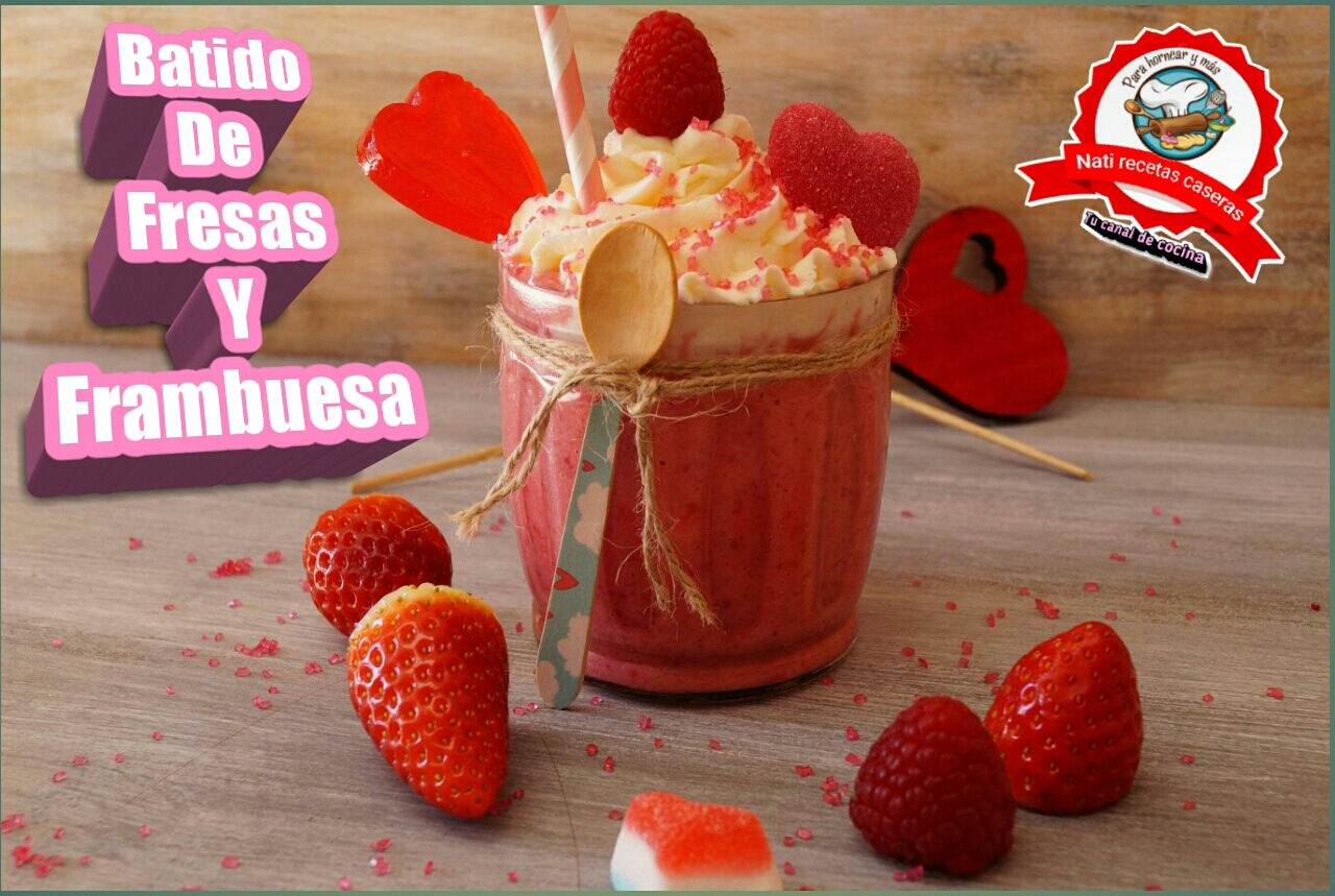 Batido de fresa frambuesa y yogurt for Batido de frambuesa