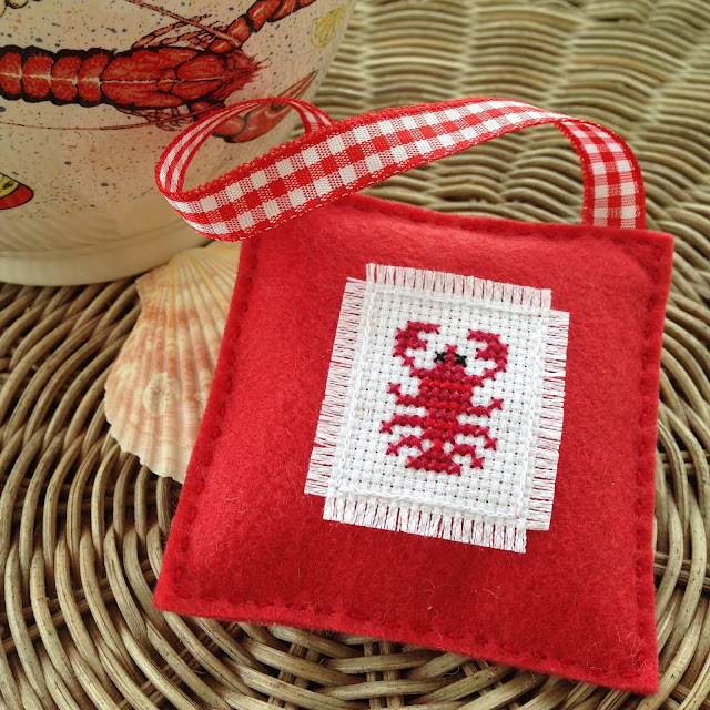 Floss & Fleece: cross-stitched lobster ornament