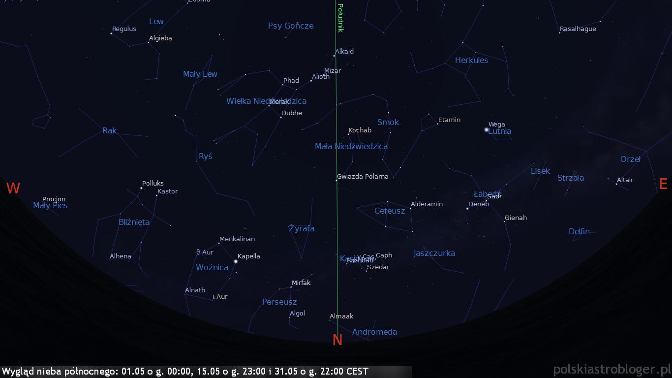 Wygląd nieba północnego 01.05 o g. 00:00, 15.05 o g. 23:00 i 31.05 o g. 22:00 CEST