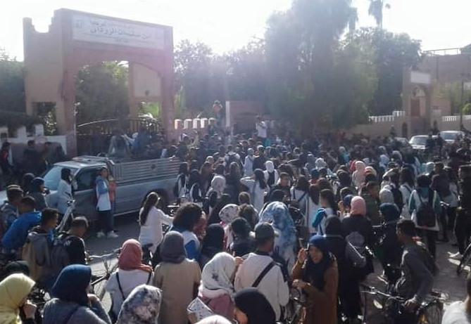 ن_____________ايضة في تارودانت / إحتجاجات تلاميذ المؤسسات التعليمية ضد قرارات العثماني والتوقيت المدرسي الجديد /صور