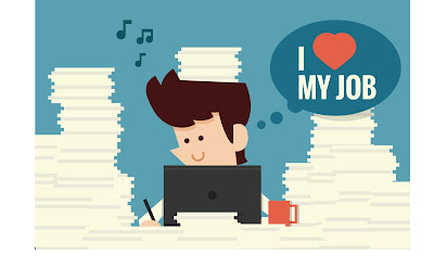 "cartoon of a smiling businessman working at his desk with piles of paper thinking ""I love my job"""