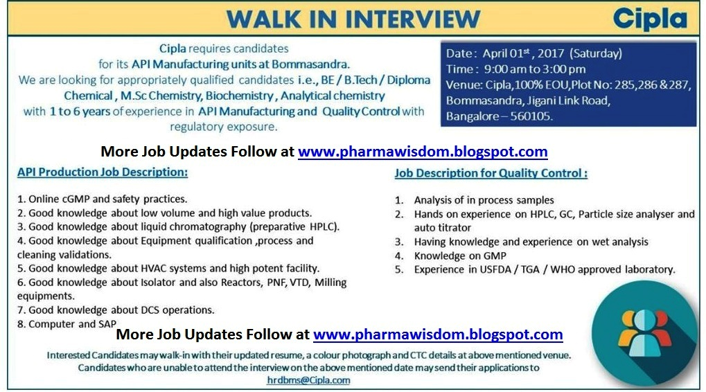 Pharma Wisdom Cipla Ltd  WalkIn Interviews For Production