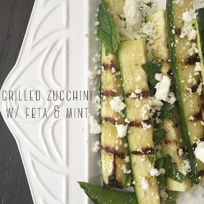 Grilled Zucchini w/ Feta & Mint