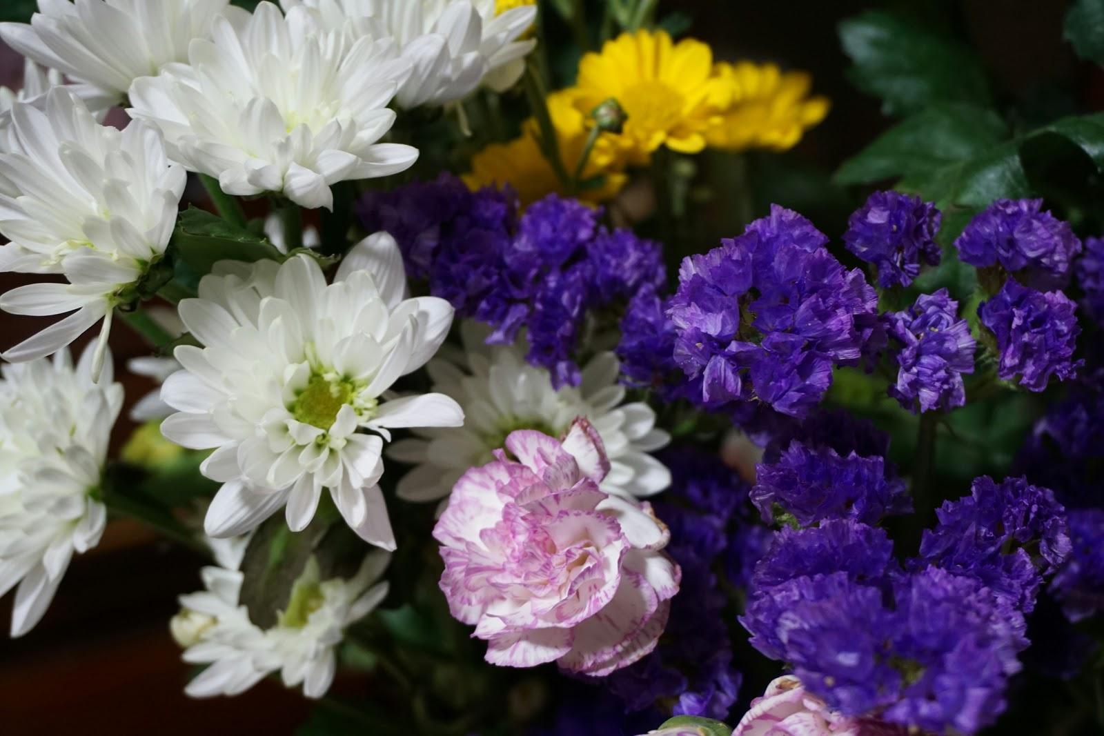 白と紫とピンクと黄色の小さめの花々