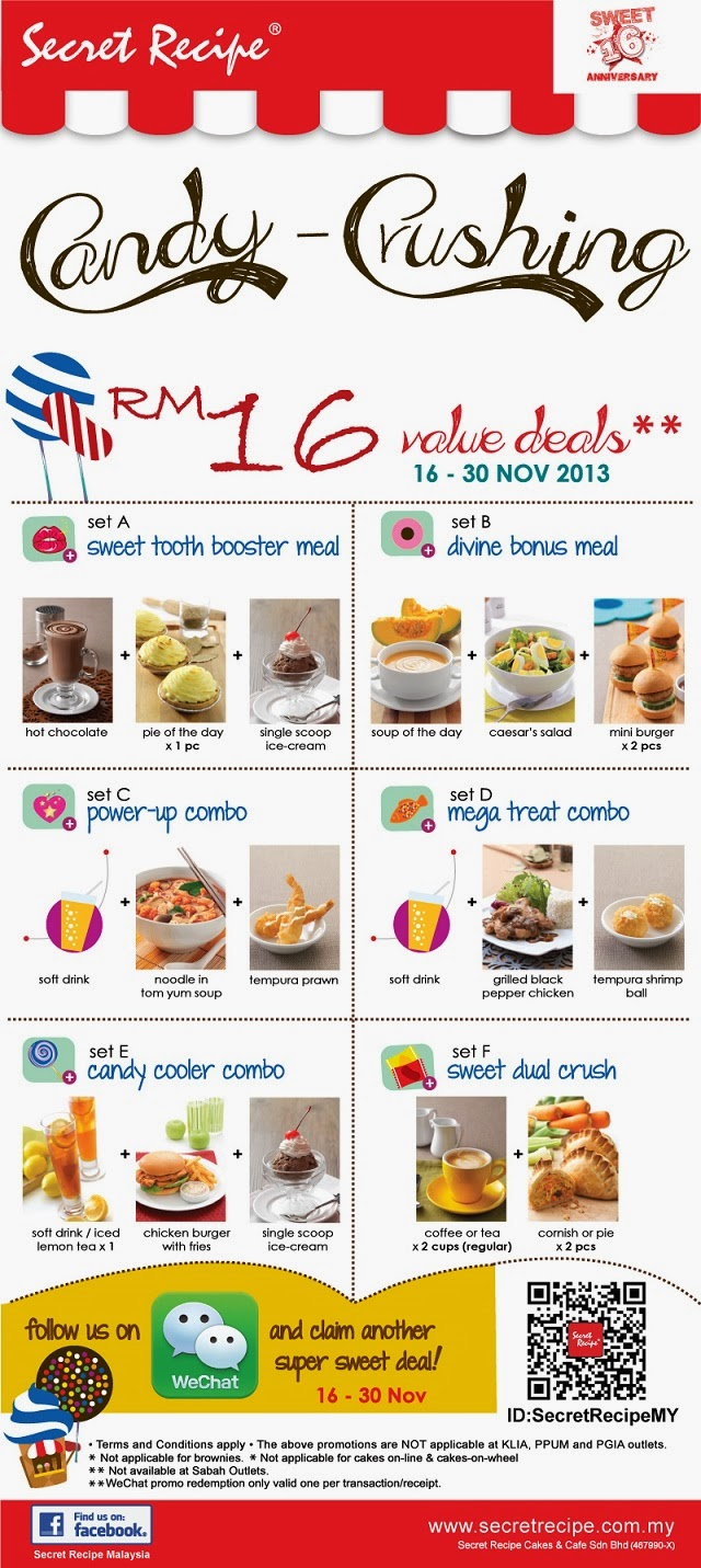 Candy Crushing RM 16 value deals (16 – 30 Nov) ( dine-in only)