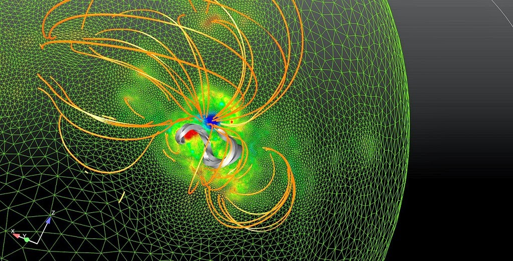 Scientists created this model to examine the magnetic plain earlier a giant solar eruption  SOHO in addition to Hinode Offer New Insight Into Solar Eruptions