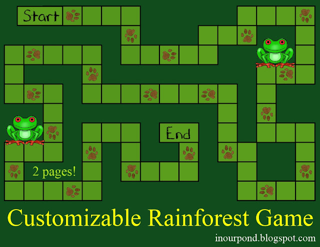 FREE Customizable Rainforest Game from In Our Pond