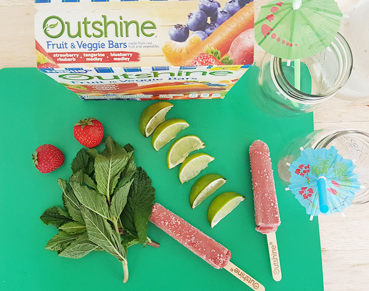 Extend your summer and treat yourself with Outshine bars and unique strawberry rhubarb mojitos! #SnackBrighter