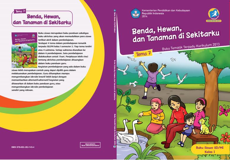 Download Buku Tematik Kurikulum 2013 SD/MI Kelas 1 Tema 7 Benda, Hewan, dan Tanaman di Sekitarku Edisi Revisi Format PDF