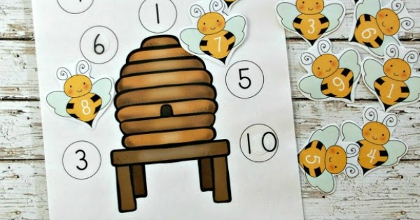 bee hive number matching activity for preschoolers