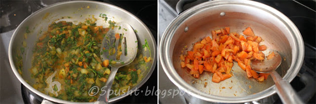 stir fry vegetables in pan to make mixed vegetable dal without pressure cooker