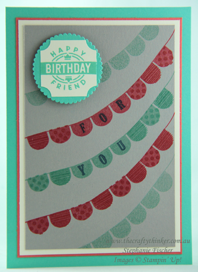 #thecraftythinker  #cardmaking  #rubberstamping  #pickapennant  #darlinglabel #hingestep #stamparatus , Darling Label Punch Box, Pick A Pennant, Hinge Step Technique, Stamparatus, Stampin' Up Australia Demonstrator, Stephanie Fischer, Sydney NSW