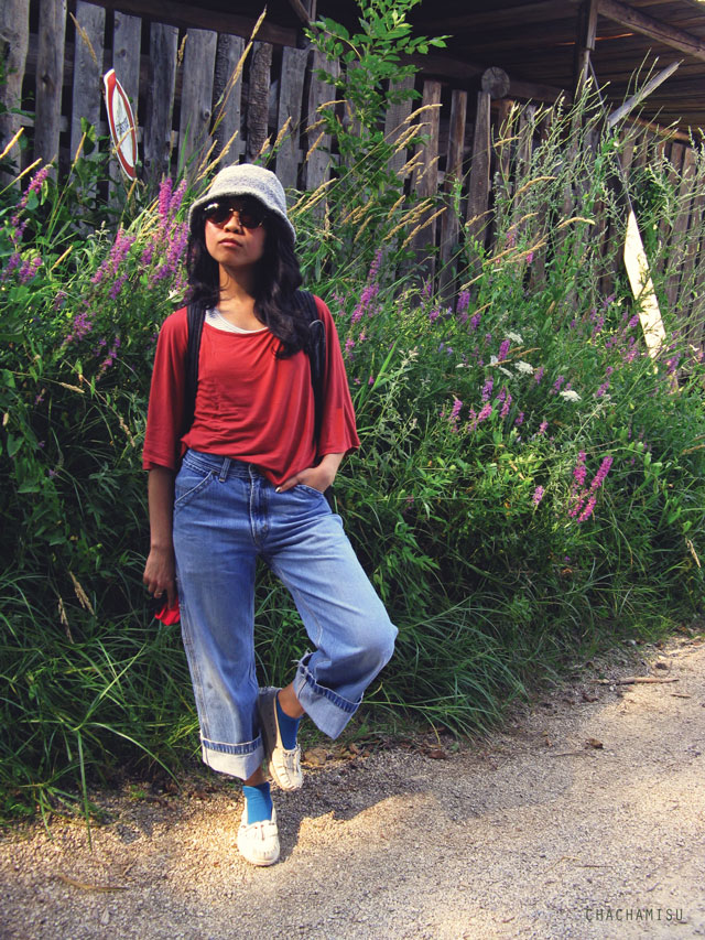Chachamisu, style, fashion, outfit, looks, summer, casual, wandering, bat wings viscose top, Levi's skater jeans, LdiR Moka Avorio moccasins slippers, espadrilles, loafers, Firmoo glasses, Levi's cotton scarf, stripes tank, C&A ankle socks, Claire's sunglasses, wool hat   ,