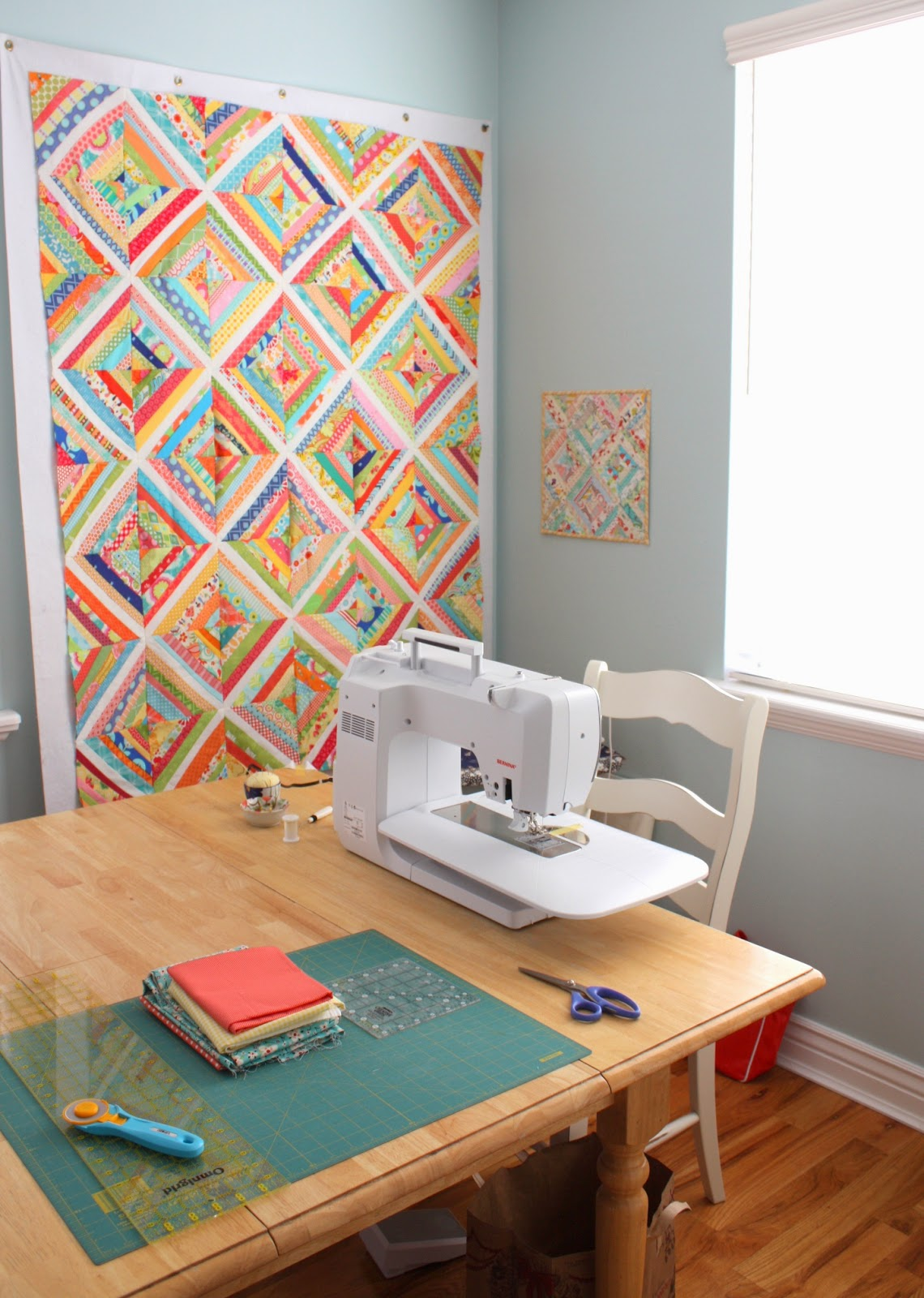 Pretty new sewing space diary of a quilter a quilt blog for Dining room quilter