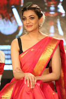 Kajal Aggarwal in Red Saree Sleeveless Black Blouse Choli at Santosham awards 2017 curtain raiser press meet 02.08.2017 034.JPG