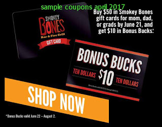Smokey Bones coupons april 2017