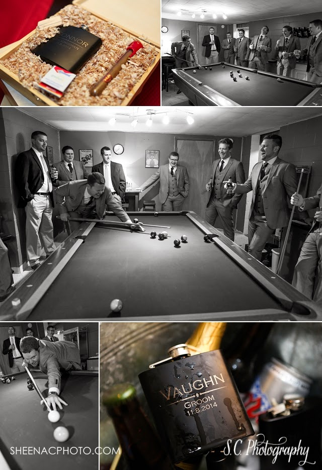 Groomsmen gift flasks wooden boxes cigars billiards pool table