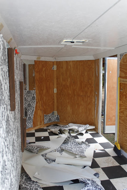 Interior of 7 x 14 trailer camper conversion before