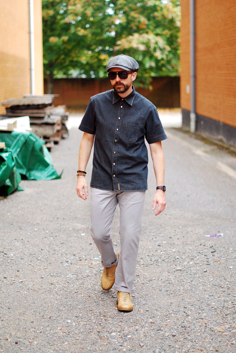 Dark denim shirt, grey trousers, baker boy hat \ over 40 menswear