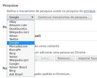 Realizando buscas com o Chrome