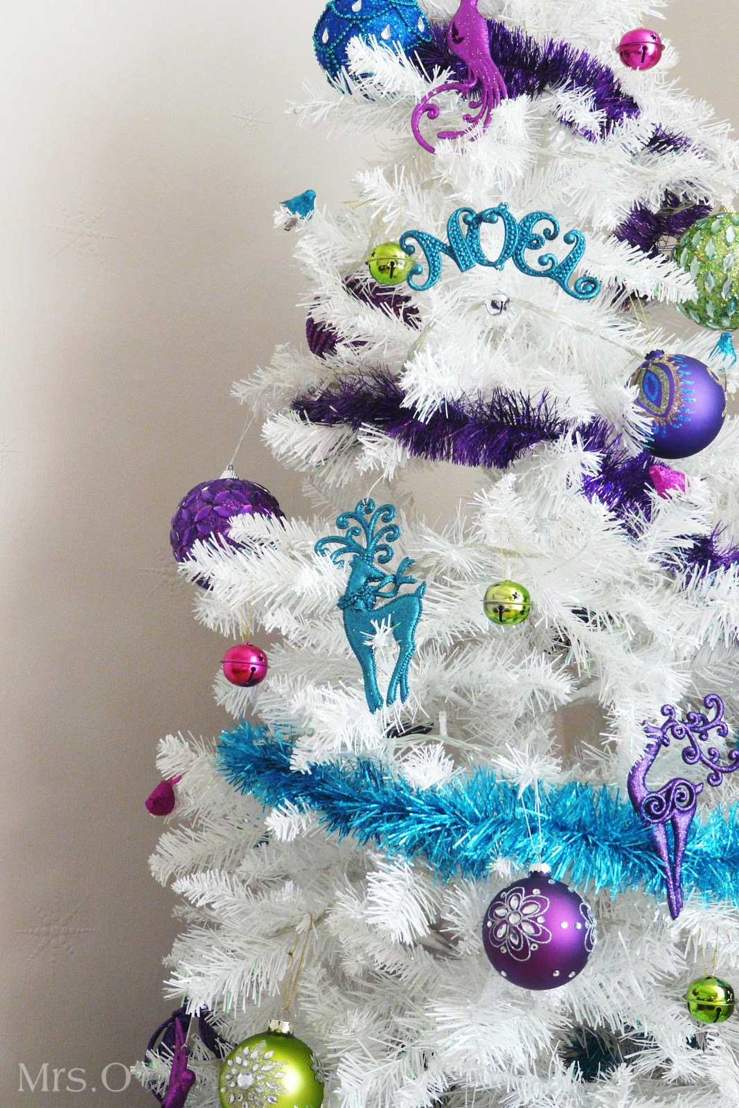 Blue and purple christmas tree decorations - Bright Colours White Christmas Tree The Purple Pumpkin Blog