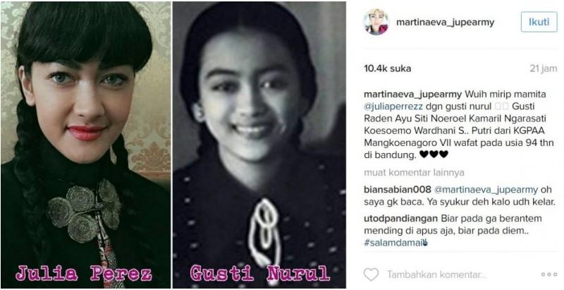 Foto Julia Perez mirip dengan Gusti Nurul