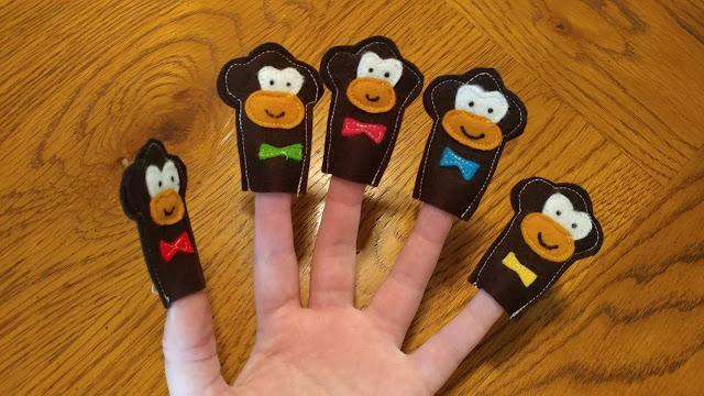 Monkey finger puppets made from felt