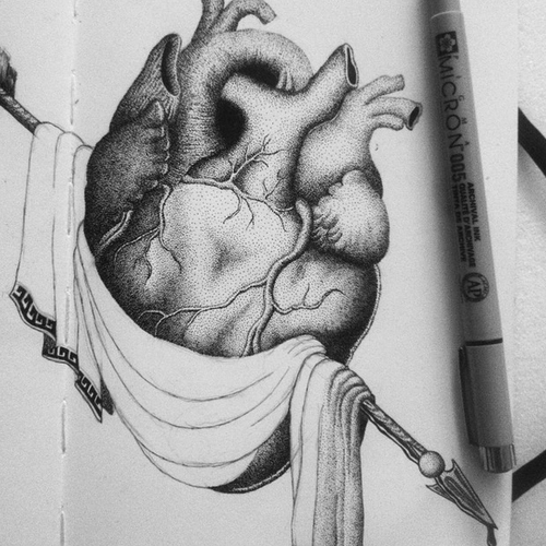 13-Heart-Veins-ventricles-valves-Kyle-Leonard-Miniature-Drawings-of-Human-and-Environment-Struggle-www-designstack-co