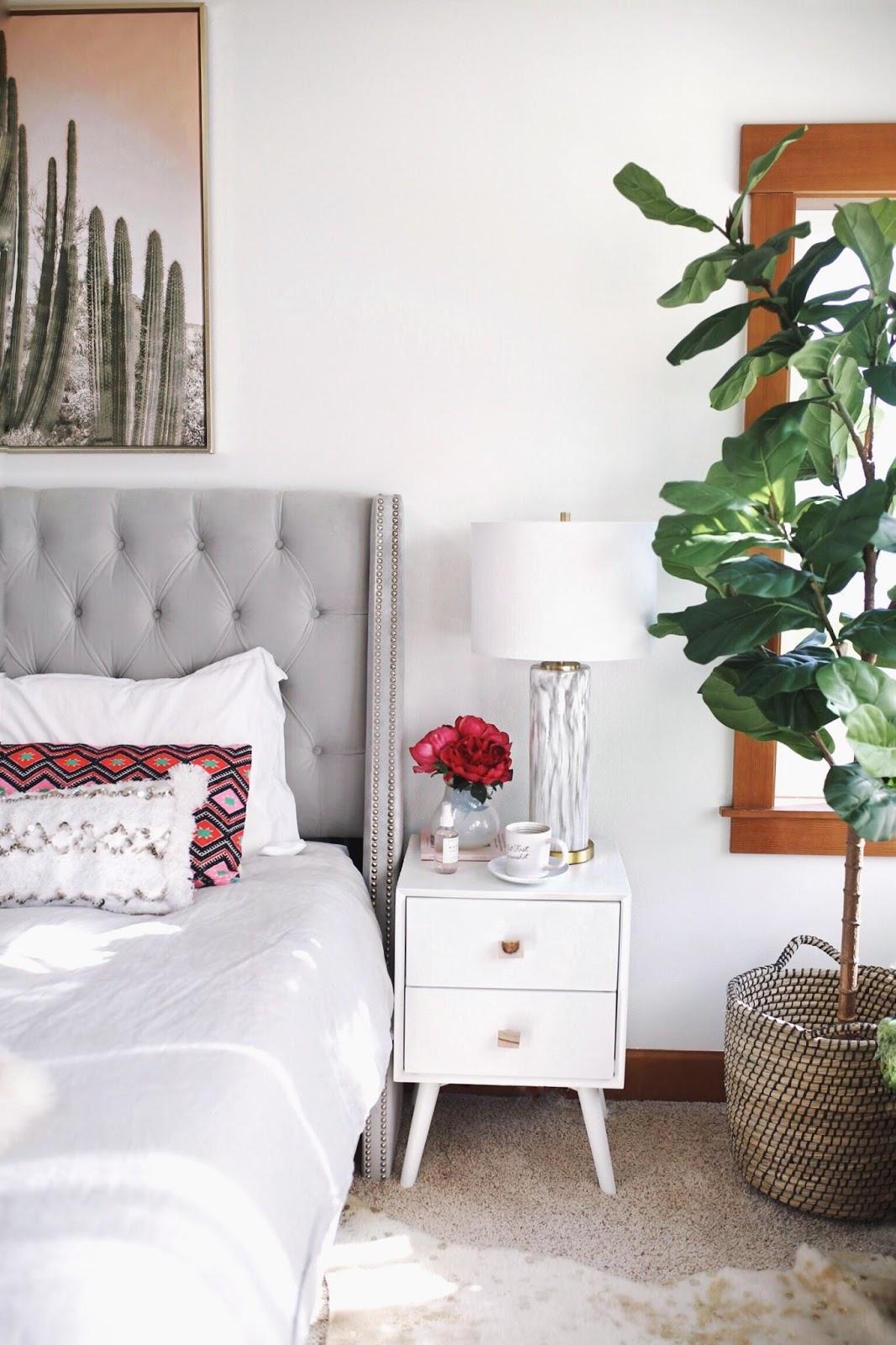 white blush pink grey bedroom inspiration