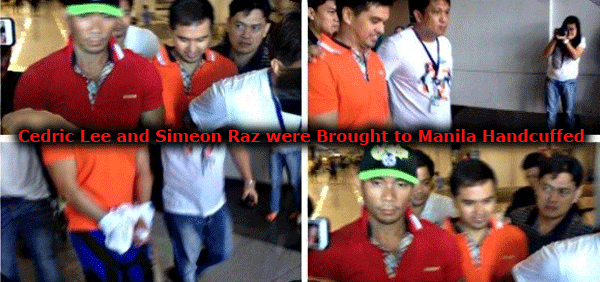 "Cedric Lee and Simeon ""Zimmer"" Raz, two of the accused in Vhong Navarro's mauling were arrested in Oras, Eastern Samar and brought to Manila handcuffed"