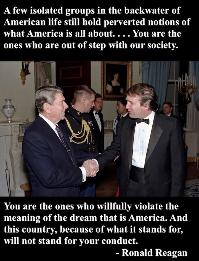 Trump and Reagan shake hands. Ronald Reagan quote backwater of America and racists. Ronald and Donald. marchmatron.com