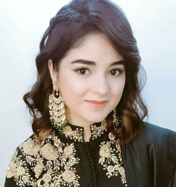 Zaira Wasim Gemstone Studded Gold Earrings
