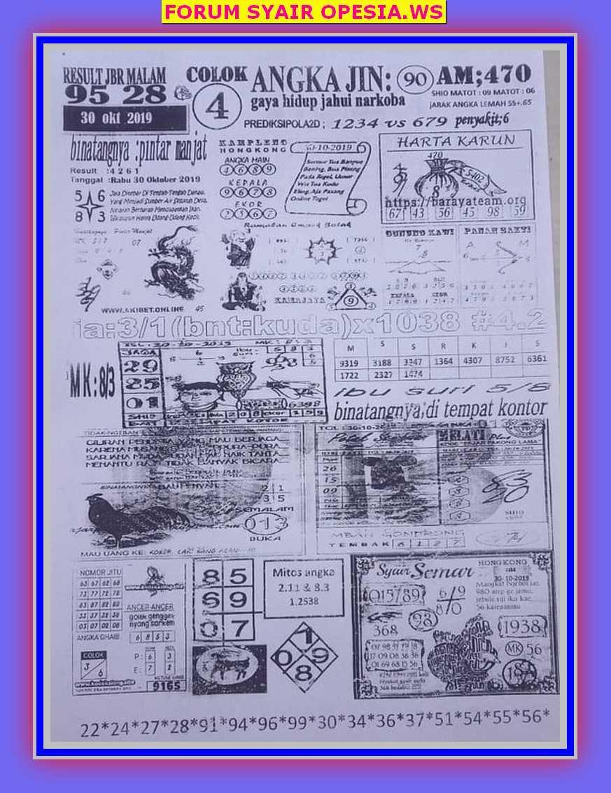Kode syair Hongkong Rabu 30 Oktober 2019 35
