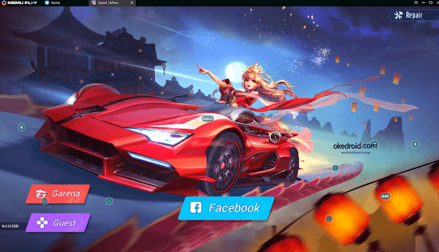 Login akun Facebook atau Garena Garena Speed Drifters Memu Play Emulator PC atau Laptop