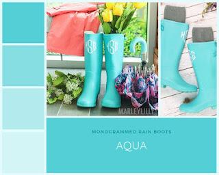 monogrammed aqua rain boots