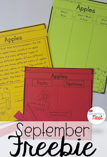 FREE fall life cycle for apples- September Activities and primary resources plus three FREEBIES- fun ELA, math, and social studies activities for students during the month of September