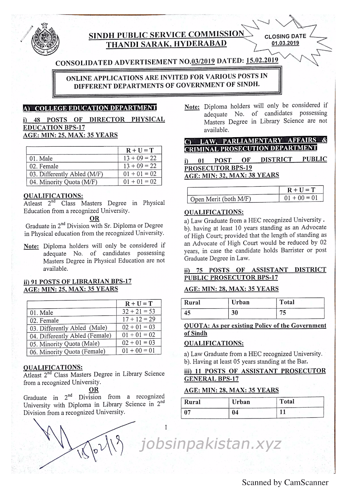 SPSC Advertisement 03/2019 Page No. 1/3