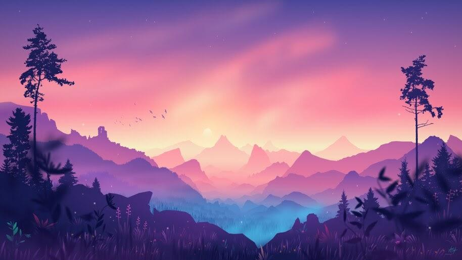 Beautiful, Mountain, Nature, Colorful, Scenery, Minimalist, 4K, #4.3057