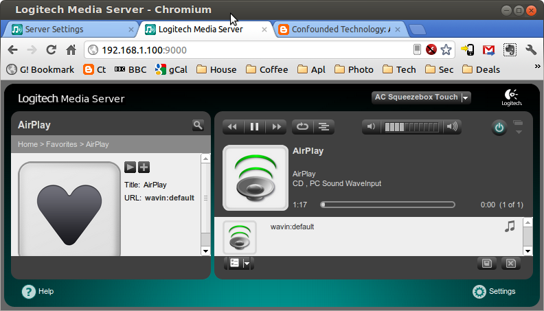 "cf38fb7f5fc In Squeezebox Server's web user-interface, create a new Favourite named  ""AirPlay"" with URL ""wavin:default"" (note the spelling i.e. no 'e')."