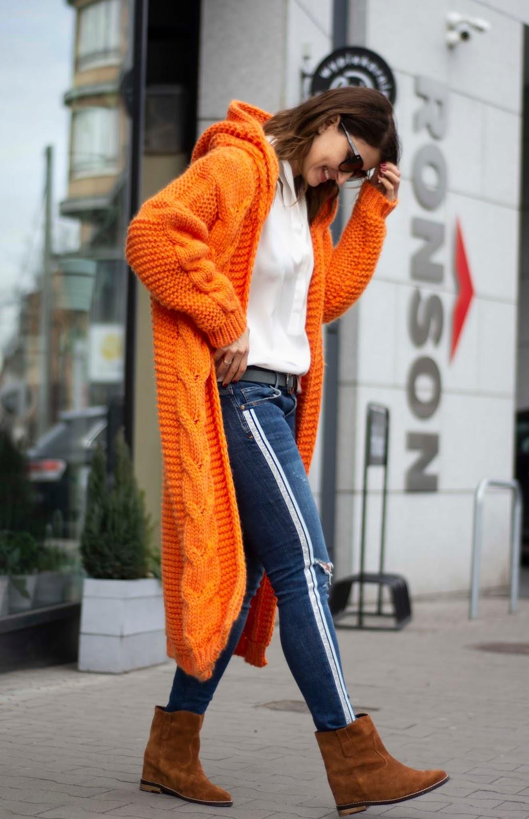 Sweater weather * czyli pomarańczowy maksi sweter w codziennej stylizacji