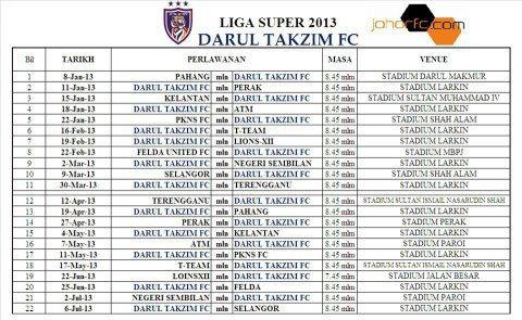 Jadual Perlawanan Johor Darul Takzim FC 2013
