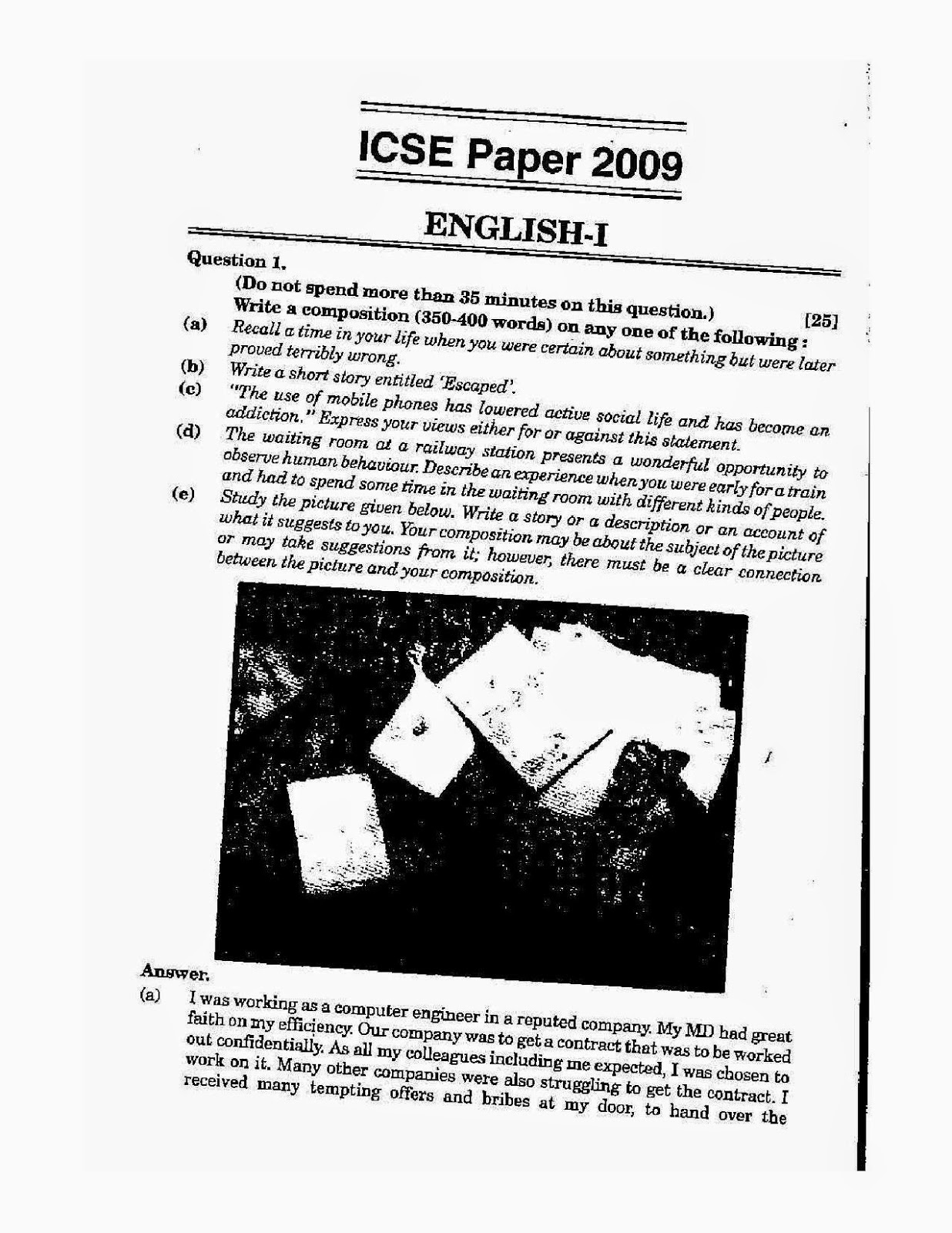 Icse class 10th 2009 English Language solved question paper 2009