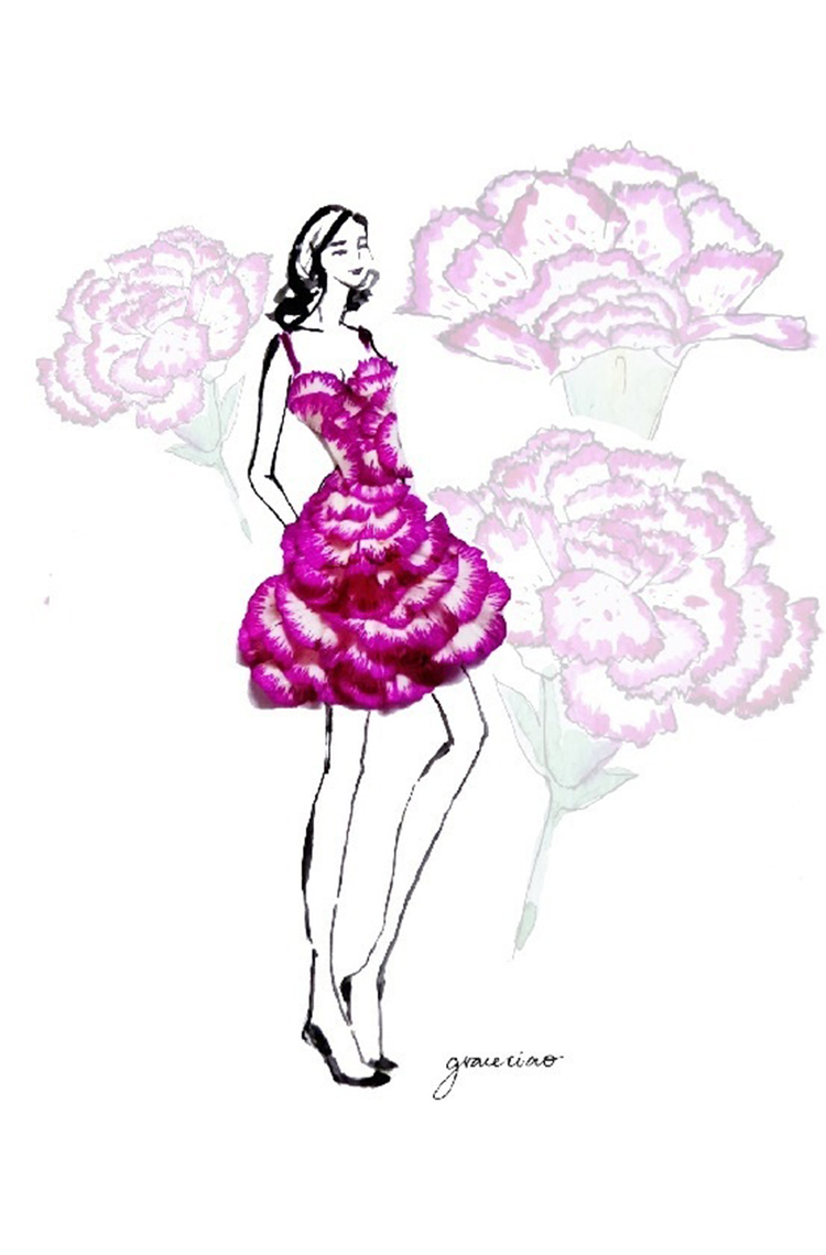 14-Layered-Violet-Body-Hugging-Dress-Nature-and-Grace-Ciao-Design-and-Draw-Dresses-with-Petals-www-designstack-co