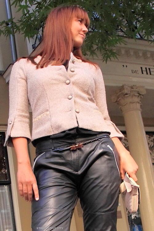 Black leather pants streetstyle fashion