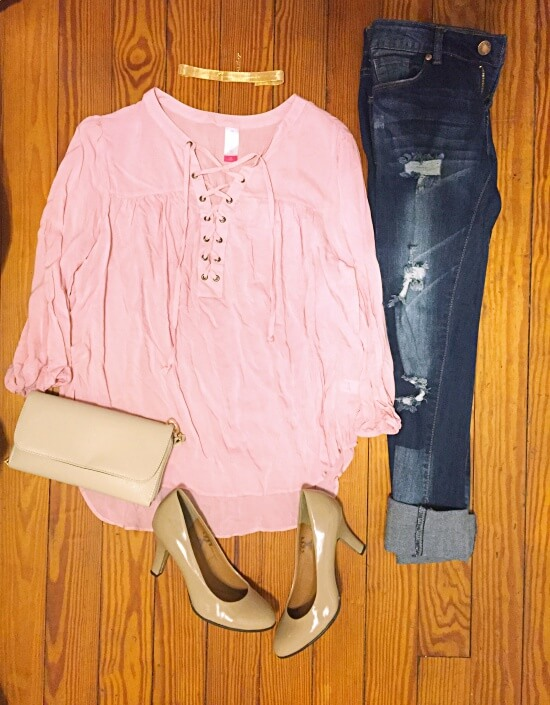 pink lace up blouse outfit of the day
