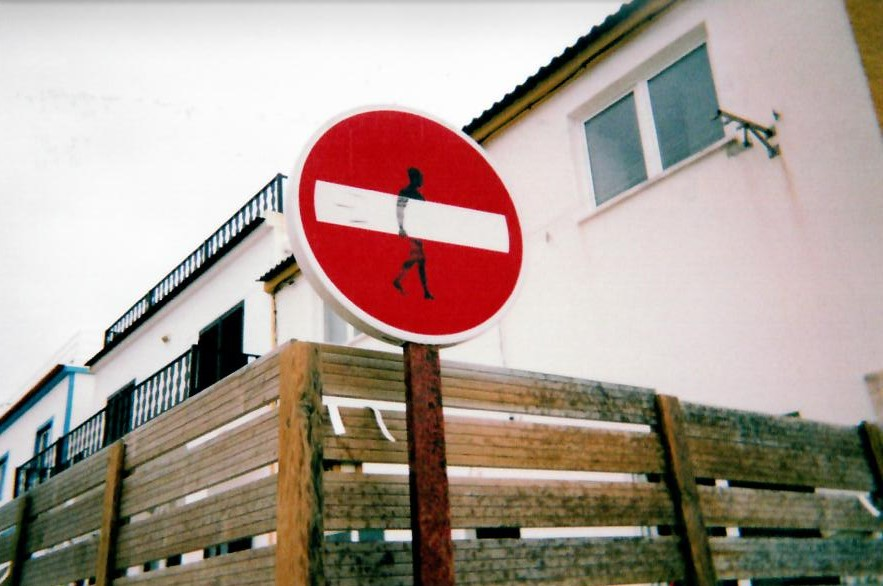 surfing break in baleal portugal sign