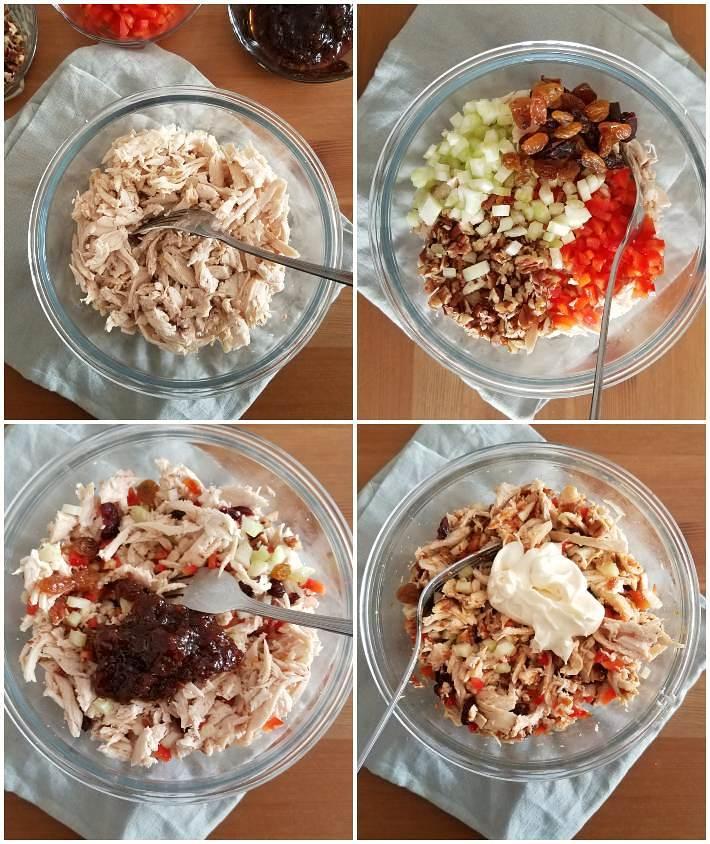 Preparación de la ensalada de pollo para los wraps