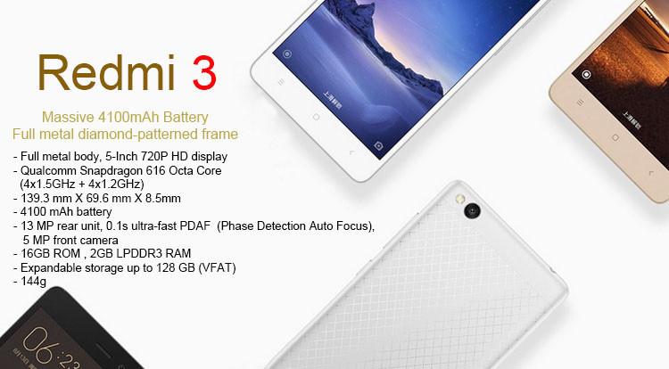 Spesifikasi Lengkap Xiaomi Redmi 3