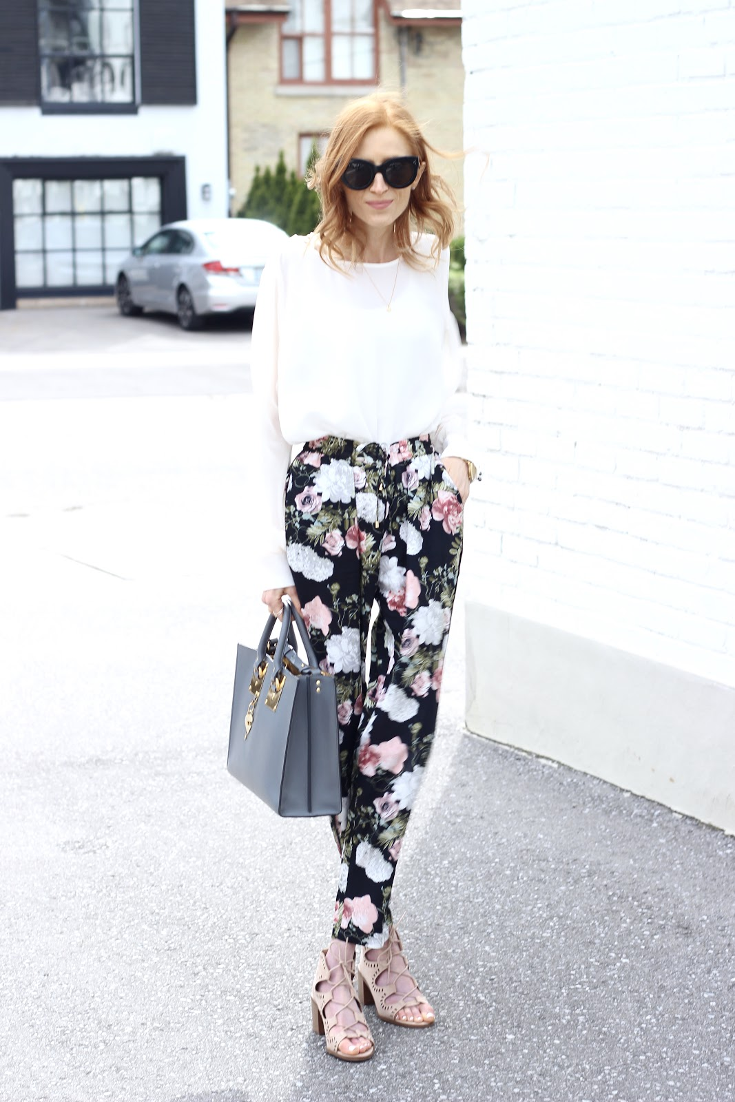 Vero Moda floral trouser, RW & CO white blouse, Mossino gladiator sandal, Sophie Hulme tote, Celine Caty Sunglasses, Spring style
